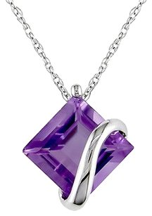 10k White Gold 2 14 Ct Tgw Amethyst Fashion Pendant Necklace With Chain