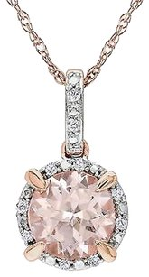 Other 10k Rose Gold Pink Morganite And Diamond Pendant 17 Chain Necklace .05 Ct