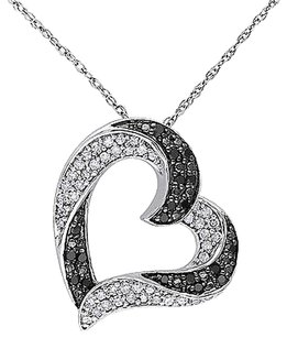 10k White Gold 13 Ct Black White Diamond Love Heart Two-tone Braided Pendant