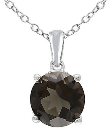 Other Sterling Silver 1 Ct Tw 8 Mm Round Smokey Quartz Solitaire Pendant With Chain