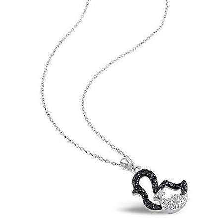 Other Sterling Silver Black And White Diamond Duck Bird Pendant Necklace Chain Gh I3
