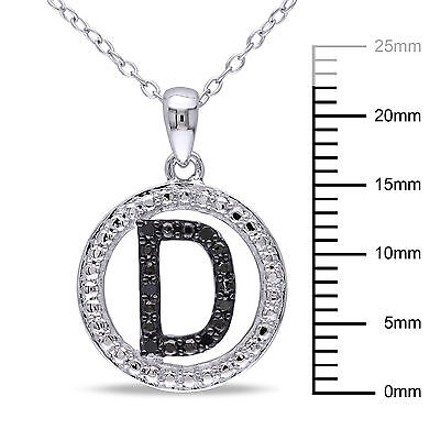 Other Sterling Silver Black Diamnd Initials D Tone Pendant Necklace With Chain
