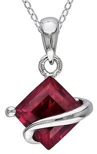 Sterling Silver 1 12 Ct Tgw Ruby Fashion Pendant Necklace