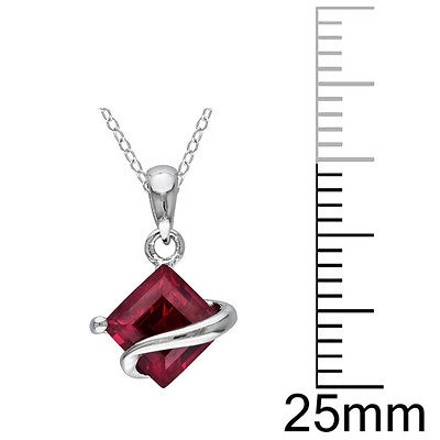 Other Sterling Silver 1 12 Ct Tgw Ruby Fashion Pendant Necklace