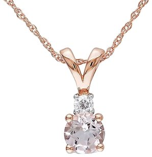10k Pink Gold Diamond 12 Ct Morganite Pendant Necklace With Chain Gh I2-i3
