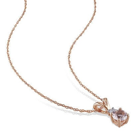Other 10k Pink Gold Diamond 12 Ct Morganite Pendant Necklace With Chain Gh I2-i3