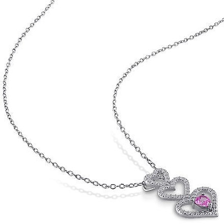 Other Sterling Silver 14 Ct Pink Sapphire Triple Stacked Heart Love Pendant Necklace