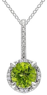 Other Sterling Silver 1.53 Ct Tcw Peridot Diamond Fashion Pendant Necklace 18