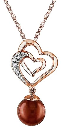 Other 10k Rose Gold 7.5-8 Mm Chocolate Pearl And Diamond Heart Pendant Necklace 17