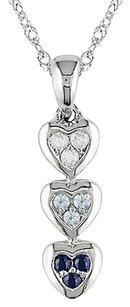 Other 10k White Gold Topaz Sapphire Heart Three-stone Diamond Pendant Necklace 17