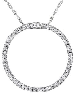 Other 10k White Gold Diamond Circle Pendant Necklace 0.25 Ct Cttw I-j I2-i3 17 Chain