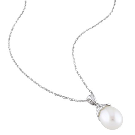 Other 9.5 - 10 Mm White Freshwater Pearl Fashion Pendant With Chain 10k White Gold Aaa
