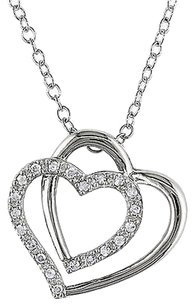 Other Sterling Silver 110 Ct Diamond Tw Love Heart Interlock Pendant Necklace I3