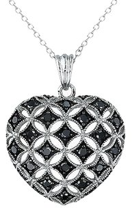 Other Sterling Silver 12 Ct Tw Black Diamond Heart Pendant Necklace With Chain