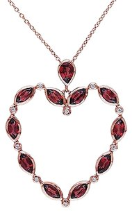 Other Pink Sterling Silver Garnet White Topaz Love Heart Pendant W 18 Chain