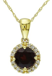 Other 10k Yellow Gold 110 Ct Diamond 1 Ct Garnet Fashion Pendant Necklace Gh I2i3