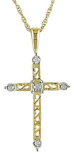 Other 14k Yellow Gold Diamond Religious Pendant Necklace With Chain Gh I3