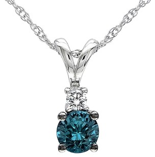 10k White Gold 14 Ct Blue White Diamond Fashion Pendant Necklace Chain