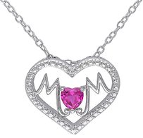 Other Sterling Silver 13 Ct Ruby Mom Heart Heart-in-heart Love Pendant Necklace
