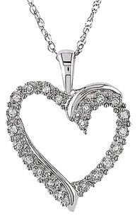 10k White Gold 110 Ct Diamond Tw Heart Love Pendant Necklace Gh I2i3