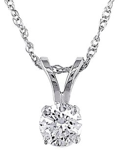 14k White Gold 13 Ct Round Diamond Solitaire Pendant Necklace With Chain I1-i2