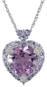 10k Gold Diamond And 3 45 Ct Tanzanite Amethyst Love Heart Pendant Necklace