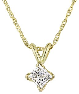 Other 14k Yellow Gold 13 Ct Princess Cut Diamond Solitaire Pendant W Chain J-k I2-i3