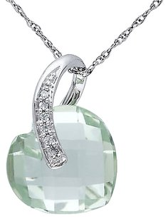 Other 10k White Gold Diamond And 6 Ct Green Amethyst Love Heart Pendant Necklace