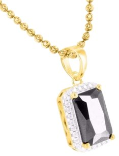 Pendant And Moon Chain Black Ruby Sterling Silver 14k Yellow Gold Finish