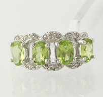 Other Peridot Cocktail Ring - Sterling Silver Diamond Genuine Womens Band 2.01ctw