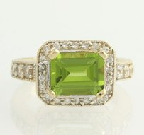 Other Peridot Cz Cocktail Ring -14k Yellow White Gold Cubic Zirconia Fashion Green