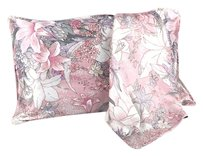 Pink Silk Pillowcase (100% Silk) Ivory Pink Grey Color With Lilly Print Standard Size: 19