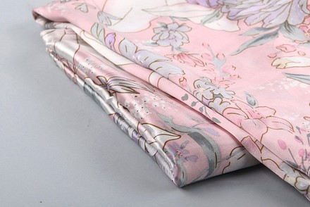 Other Pink Silk Pillowcase (100% Silk) Ivory Pink Grey Color With Lilly Print Standard Size: 19