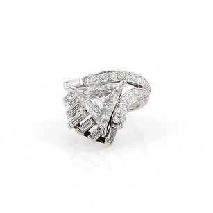 Platinum 4.94tcw Triangle Round Cut Diamond Solitaire Cocktail Ring