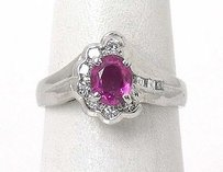 Platinum .93ctw Diamond Ruby Ladies Solitaire With Accent Ring