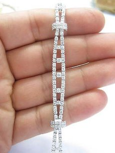 Other Platinum Designer Diamond 2-row Bracelet Pt950 6.26ct