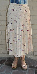 Other Issey Miyake Fete Beige Cream Pleated Floral Japan Skirt Multi-Color