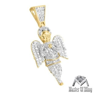 Praying Angel Pendant Mens Ladies Simulated Diamond Yellow Gold Finish