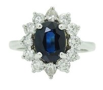 Princess Diana Style 14k White Gold Tcw Diamond Blue Sapphire Ring R760
