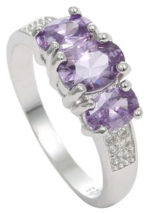 Purple Sterling Silver Ring with Oval Zircons