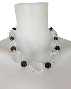 Qvc Faceted Clear Glass Black Beaded Necklace W Lobster Clasp 19
