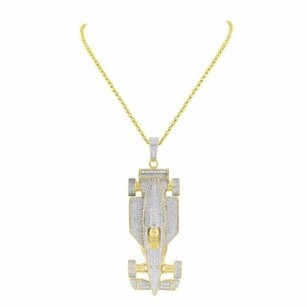 Race Car Pendant Sports Moon Chain 14k Gold Finish 925 Silver Simulated Diamonds