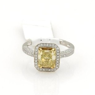 Radiant Cut 1.75ct Fancy Intense Yellow Diamond 18k Solitaire Ring Wgia Cert