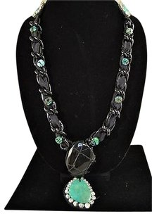 Other Ranjana Khan Black Ribbon Turquoise Pendant Design Rhinestone Detail Necklace