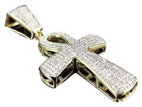 Other Real 10k Yellow Gold Genuine Diamond Ankh Cross Charm Pendant 1.75 Ins 0.65 Ct