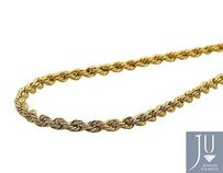 Real 10k Yellow Gold Mm Hollow Rope Chain Necklace 16-28 Inches