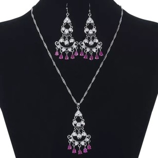 Red Ruby 18k White Gold Plated set