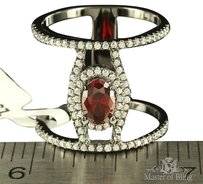 Red Ruby Ring Simulated Solitaire Diamond Coil Style Chrome Look Women Elegant