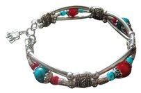 Other Red Sterling Silver Gold Plated Turquoise Statement Bohemian Bracelet