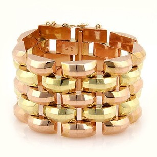 Retro 18k Yellow Rose Gold 42mm Wide Link Fashion Bracelet